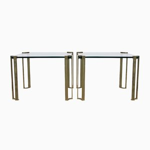 Peter Ghyczy Brass and Glass Side Tables, 1970s, Set of 2