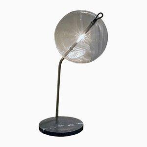 Lampe de Bureau Special T-Double avec Pied en Marbre, Argent Terni & Laiton par Silvio Mondino