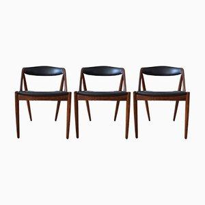 Sedie da pranzo modello 31 Mid-Century in teak di Kai Kristiansen per Schou Andersen, set di 3