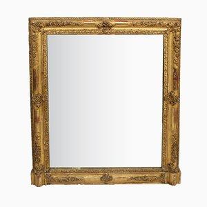 Specchio quadrato antico con cornice intagliata