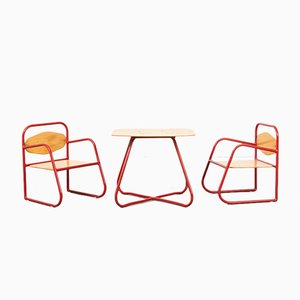 Children's Tubular Table & Chairs Set, 1981