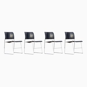 Model 40-4 Metal Stacking Chairs by David Rowland for Office Furniture Systems, 1977, Set of 4