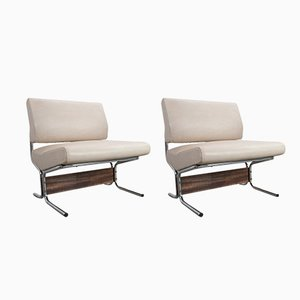 White Skai Lounge Chairs by Pierre Guariche for Meurop, 1966, Set of 2