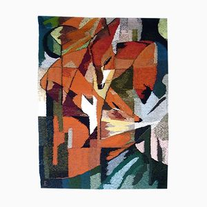 German Hand-Woven The Fox Tapestry, 1960s
