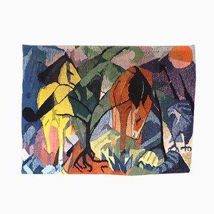 Handgewobener deutscher Pferd und Adler Wandteppich, 1960er