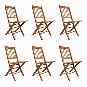 Vintage Belgian Wooden Folding Chairs from Torck, Set of 6