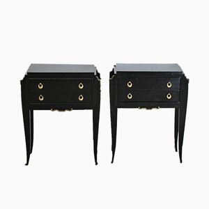 French Ebonized Nightstands, 1940s, Set of 2