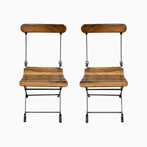French Folding Garden Bistro Chairs, 1950s, Set of 2