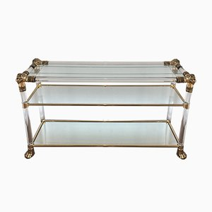 French Lucite Console Table with Gilded Lion Heads and Feet, 1970s