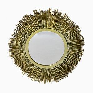 Specchio a forma di sole in ottone, Francia, anni '60