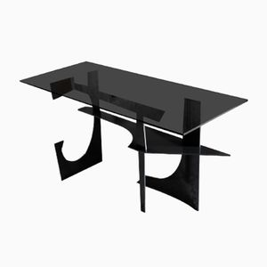 Brutalist-Style Steel and Smoked Glass Writing Desk from Edizione Flair, 2018