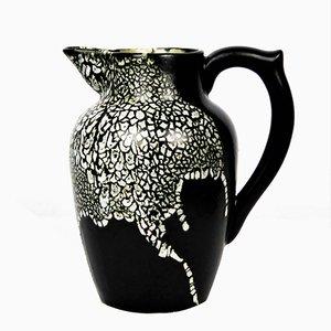 Ceramic Black & White Vase by Leon Pointu, 1930s