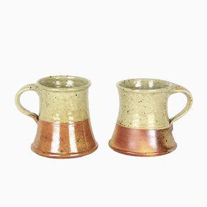 Two-Tone Stoneware Mugs by Antoine De Vinck, 1950s, Set of 2