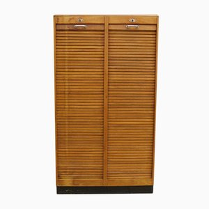 Art Deco Oak Tambour Front Cabinet by JAC