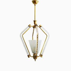 Murano Reticello Ceiling Lamp, 1950s