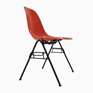 Orange DSS Fiberglass Stacking Chair by Charles & Ray Eames for Herman Miller, 1960s