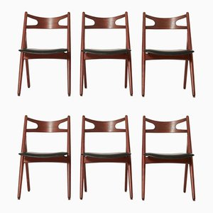 CH-29 Sawbuck Dining Chairs by Hans Wegner for Carl Hansen, Set of 6