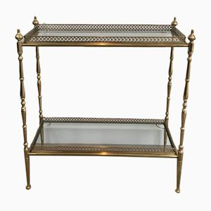 Small French Neoclassical Style Brass Console with Removable Trays, 1940s