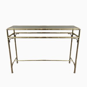 Faux-Bamboo Brass and Silvered Console Table with Smoked Glass, 1970s