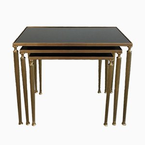 Brass Nesting Tables with Black Lacquered Glass Top from Maison Jansen, 1940s