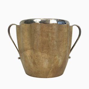 Goatskin and Silver Plated Champagne Bucket by Aldo Tura, 1950s