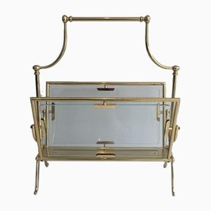 French Brass & Glass Magazine Rack, 1960s