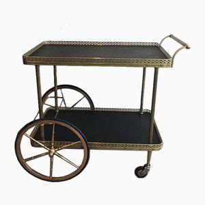 French Neoclassical Style Brass Trolley with Black Faux-Leather Trays, 1940s