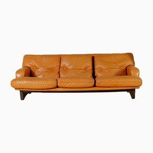 Sofá de cuero y relleno de espuma, años 60