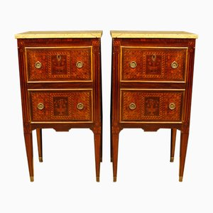 Italian Inlaid Bedside Tables with Marble Top, 1950s, Set of 2