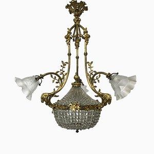 Vintage Liberty Bronze Crystal Chandelier