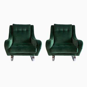 Französische Samt Sessel in Smaragdgrün, 1960er, 2er Set