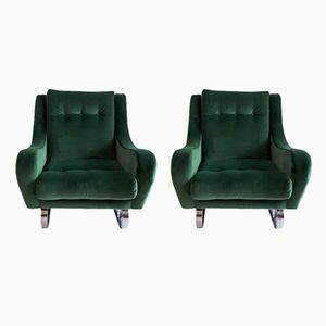 French Emerald Green Velvet Cantilever Lounge Chairs, 1960s, Set of 2