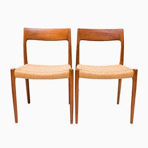 Danish No. 77 Teak Chairs by Niels O. Møller for J.L Møller, 1960s, Set of 2