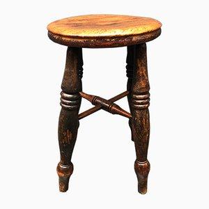 Antiker englischer Eichenholz Hocker aus Kneipe