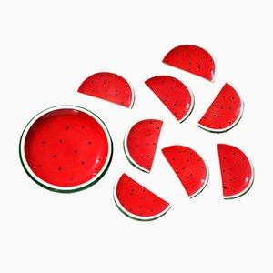 Geschirr Set in Wassermelonen Optik von Italica Ars, 1960er