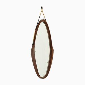 Specchio ovale con cornice in teak, Italia, anni '50
