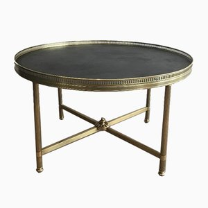 French Neoclassical Style Round Coffee Table with Faux-Leather Top from Maison Jansen, 1940s
