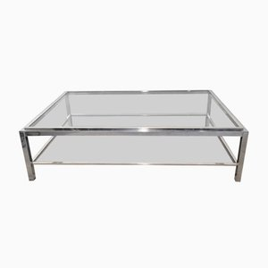 Large Chrome and Brass Coffee Table with Clear Glass Top & Smoked Glass Shelf by Willy Rizzo, 1970s