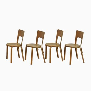 Model 66 Chairs by Alvar Aalto for Artek, 1980s, Set of 4