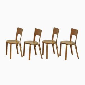 Sillas modelo 66 de Alvar Aalto para Artek, años 80. Juego de 4