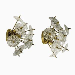 Crystal Sputnik Wandlampen oder Deckenfluter, 1960er, 2er Set