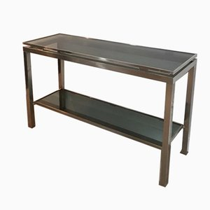 Brushed Steel Console Table with Glass Top by Guy Lefèvre for Maison Jansen, 1970s