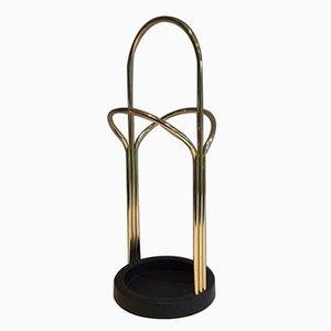 Brass and Black Lacquered Plastic Umbrella Stand, 1980s