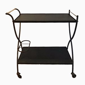 Black Lacquered Metal and Brass Trolley, 1950s