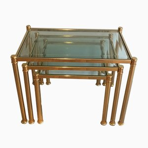 Brass Nesting Tables with Tinted Glass Tops, 1970s