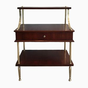 Small Mahogany and Brass Shelving Unit with a Drawer, 1940s