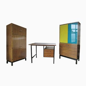 Mid-Century Formica Desk, Display Cabinet & Wardrobe Bedroom Set