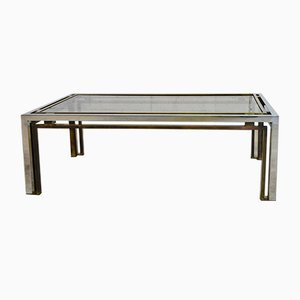 Italian Brass & Chrome Coffee Table by Romeo Rega, 1970s