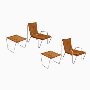 Sedie modello 3350 Bachelor con poggiapiedi di Verner Panton per Fritz Hansen, 1967, set di 2