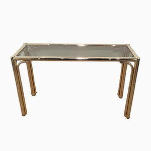 Faux Bamboo Gilt Console Table, 1970s